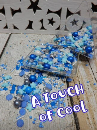 A Touch Of Cool Pale Dark Blue White Silver Sprinkles Jimmies Sugar Pearls Frozen Snow Drops