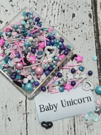 Baby Unicorn With Black And Pastel To Dark Purple Pink Silvers Edible Cake Sprinkle Decorations
