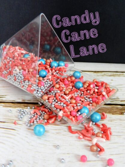 Candy Cane Sprinkles With Teal Silver Pink Baubles Edible Christmas Cupcake Biscuits Decorations