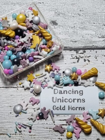 Dancing Unicorn With Gold Horns Edible Sprinkles Cake Decorations