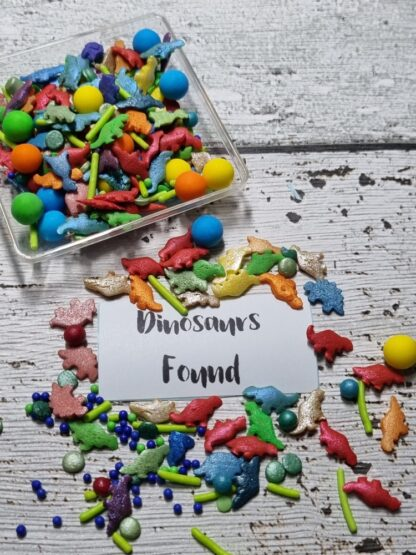 Dinosaurs Found Edible Sprinkle Mix Bright Colours Cake Decorations