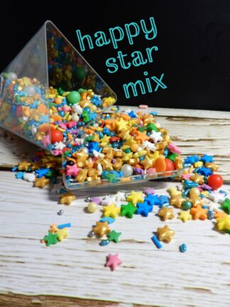 Happy Star Mix Blend Of Bright Coloured Stars Gold Pink Yellow Blue Green White Edible Sprinkles