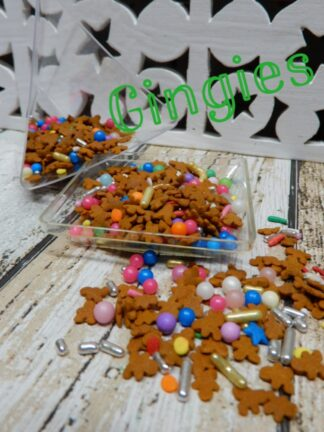Mini Gingies For Gingerbread Men House Sprinkles Gold Silver Jimmies Pink Blue White Sugar Pearls Decorations Cupcakes