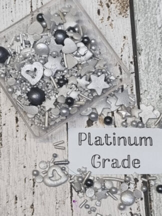 Platinum Grade Silver Mix Shapes And Tones Stars Hearts Pearls Edible Sprinkles Cake Decorations