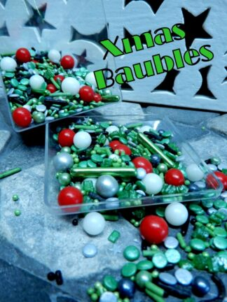 Xmas Baubles Cake Decorations Red White Green Edible Shades For Christmas