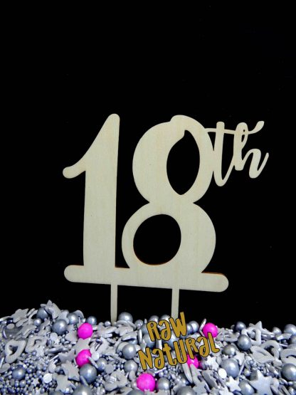 18th Raw 3 Ply Wooden Cake Topper