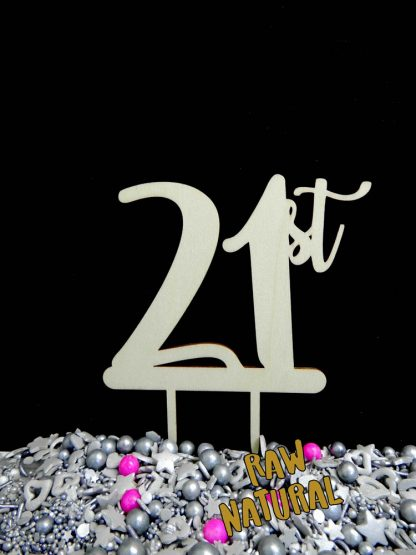 21st Raw 3 Ply Wooden Cake Topper