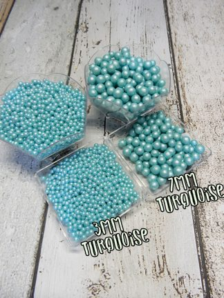 3mm And 7mm Turquoise Pearlised Sugar Pearl Cake Sprinkles
