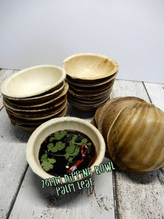 76mm Dipping Bowl Round Palm Leaf Biodegradable