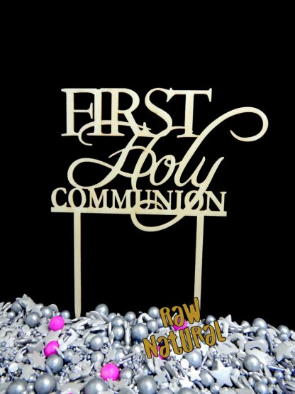 First Holy Raw 3 Ply Wooden Cake Topper