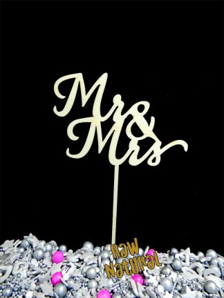 Mr And Mrs Raw 3 Ply Wooden Cake Topper