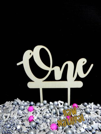 One As A Word Raw 3 Ply Wooden Cake Topper