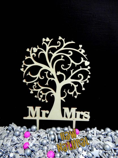 Tree Mr Mrs Raw 3 Ply Wooden Cake Topper