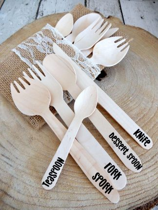 Wooden Knife Fork Dessert Spoon Spork Party Pack