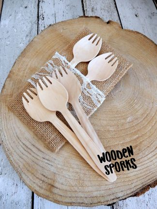 Wooden Sporks Made From Sustainable Wood