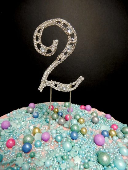 7cm Number 2 Colonial Style Design Diamante Two Cake Decoration