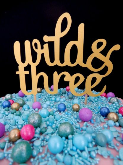 Paper Gold Wild And Three Cake Topper Decoration Age 3 Three Birthday Party