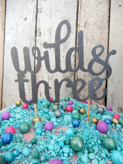 Paper Silver Charcoal Wild And Three Cake Topper Decoration Age 3 Three Birthday Party
