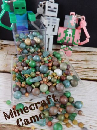 Minecraft Camo Edible Sprinkle Mix Green Brown Gold White Sugar Pearls Rock Candy For Cakes Decorations