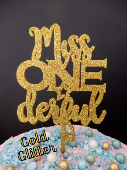 Miss One Derful Cake Topper 1st Birthday Gold Glitter First