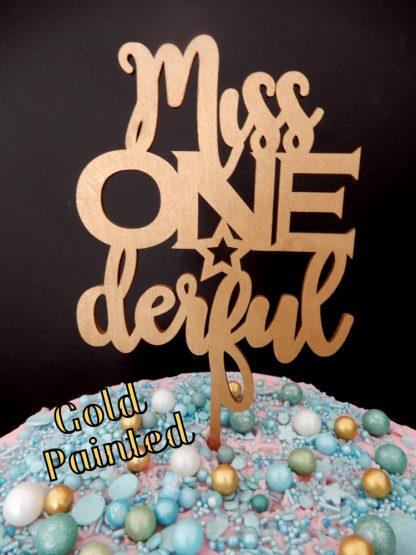 Miss One Derful Cake Topper 1st Birthday Gold Painted First