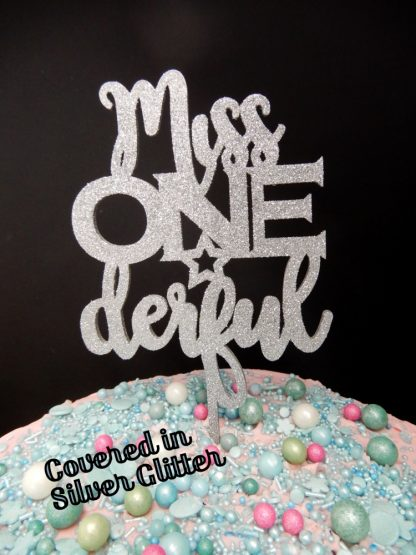 Miss One Derful Cake Topper 1st Birthday Silver Glitter First