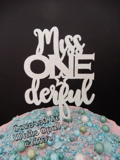 Miss One Derful Cake Topper 1st Birthday White Opal Glitter First