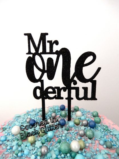 Mr One Derful Cake Topper 1st Birthday Black Glitter First