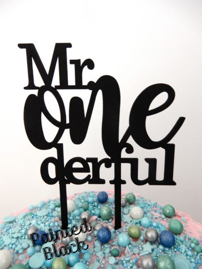 Mr One Derful Cake Topper 1st Birthday Black Painted First