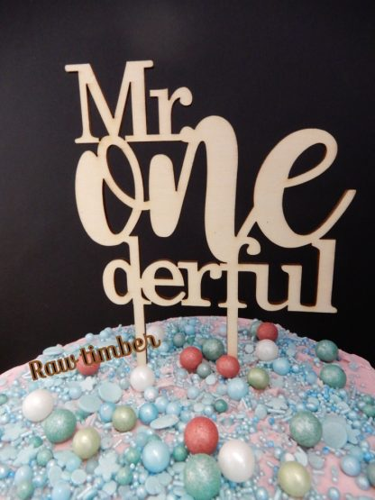 Mr One Derful Cake Topper 1st Birthday Raw Natural Timber First