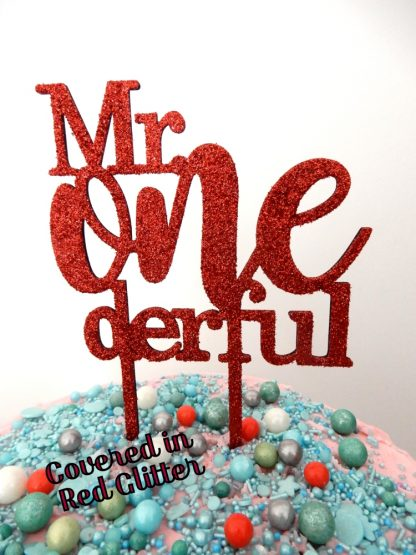 Mr One Derful Cake Topper 1st Birthday Red Glitter First