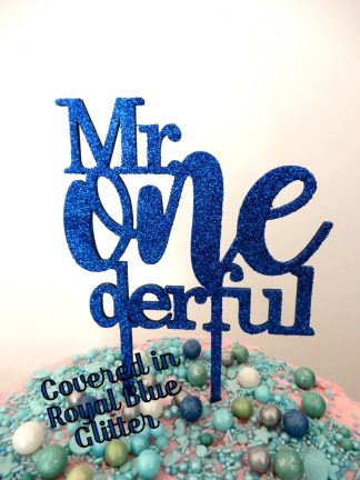 Mr One Derful Cake Topper 1st Birthday Royal Blue Glitter First