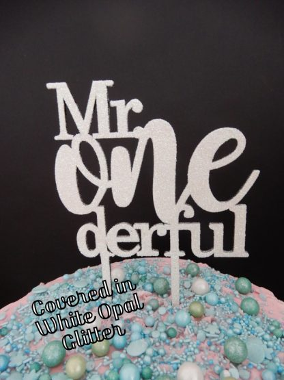 Mr One Derful Cake Topper 1st Birthday White Opal Glitter First