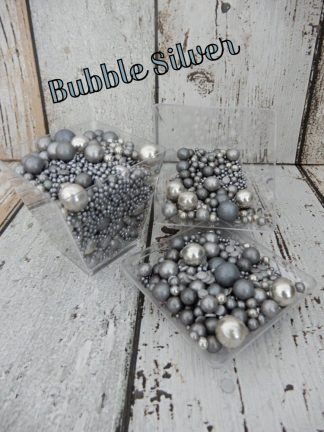 Coloured Bubble Silver Cupcake Sprinkles Shades Of Metallic Silver Baubles Decorations