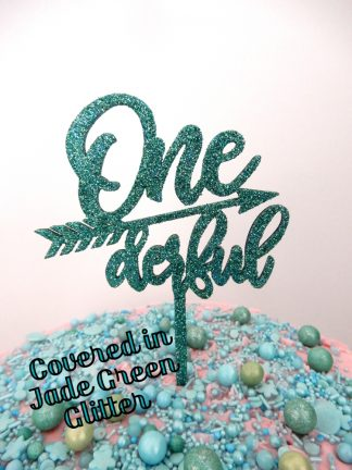 Timber One Derful 1st Birthday Cake Topper Jade Green Glitter