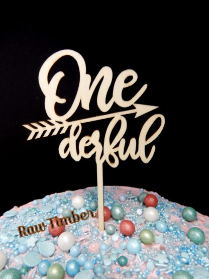 Timber One Derful 1st Birthday Cake Topper Raw Natural Timber