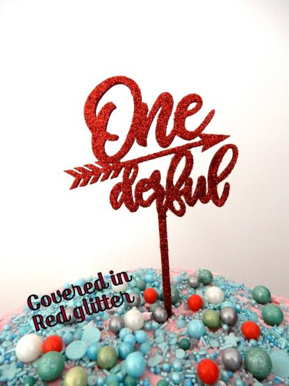 Timber One Derful 1st Birthday Cake Topper Red Glitter