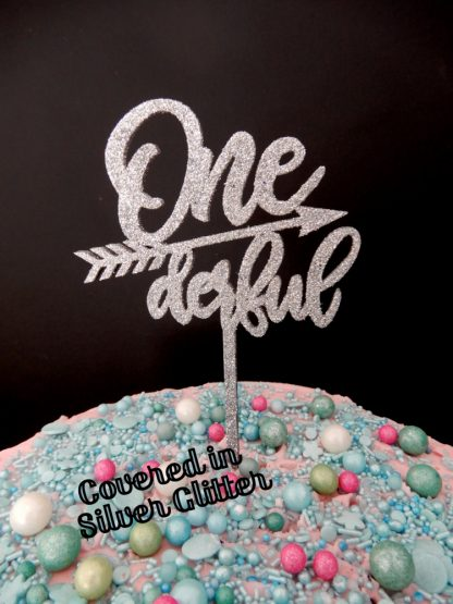 Timber One Derful 1st Birthday Cake Topper Silver Glitter