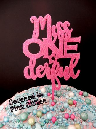 Miss One Derful Cake Topper 1st Birthday Pink Glitter First
