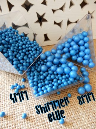 4mm 8mm Sugar Pearls Blue Saphire Shimmer Opal Sheen Cake Decorations Hard Sprinkles