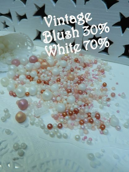 Vintage Blush 30 70 White Wedding Bubbles Sprinkles Soft Hues Pink Edible Rustice Event