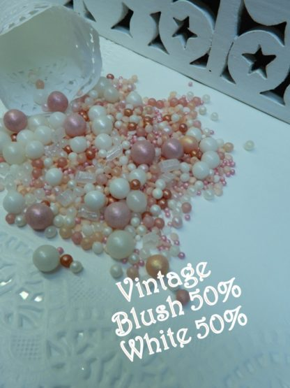 Vintage Blush 50 50 White Wedding Bubbles Sprinkles Soft Hues Pink Edible Rustice Event
