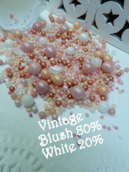 Vintage Blush 80 20 White Wedding Bubbles Sprinkles Soft Hues Pink Edible Rustice Event