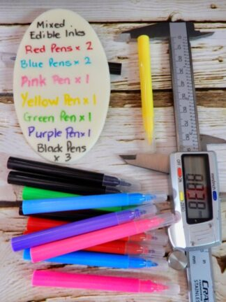 Length Of 2 Pack Of Mixed Black Red Pink Green Purple Yellow Edible Food Markers Pens Mini Sized To Write On Edible Food Surfaces
