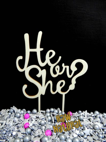 He Or She Raw Natural Timber Baby Shower Gender Reveal Cake Topper Decoration