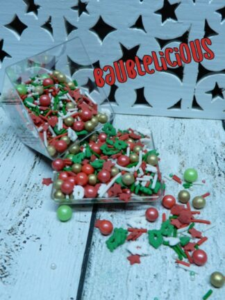Baublelicious Bling Xmas Spots Sugar Pearls Assorted Red White Gold Green Confetti Style Edible Sprinkles For Cake Decorations