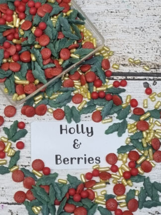Holly And Berries Ho Merry Xmas Red Gold Leaves Green Edible Sprinkles Cake Decorations