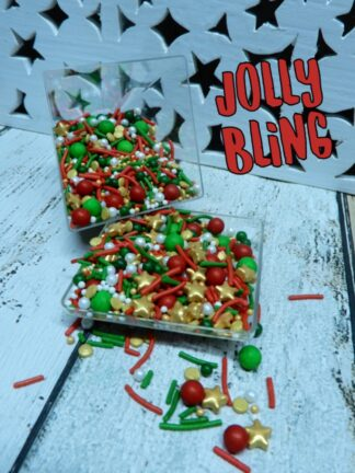 Jolly Bling Xmas Spots Sugar Pearls Assorted Red White Gold Green Confetti Style Edible Sprinkles For Cake Decorations