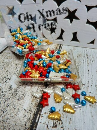 Oh Christmas Tree Xmas Sparkle Gold White Red Silver Blue Mixed Shapes Colours Edible Sprinkles Australia