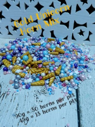 Gold Unicorn Horns With Party Sprinkles White Stars Sugar Pearls Pink Blue With Purple Edible Cakes Cupcakes Decorations